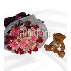 Gerberas flowers for Congratulations. Order this precious arrangement of one dozen pink Gerberas and one dozen red roses with inches I love you brown teddy bear for your best friend. Dozen Red Roses, Online Flower Shop, Brown Teddy Bear, Your Best Friend, 6 Inches, Baby Car Seats, Congratulations, Bouquet, Flowers