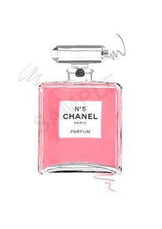 Pink Chanel No. 5 Paris Parfum.  perfume fashion illustration by RKHercules.
