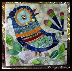 Love Bird | 20cm by 20cm glass mosaic. | Remygem | Flickr