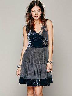 Free People- this dress is even more GORGEOUS in the all blue version. Won't let me pin that version. Check it out.