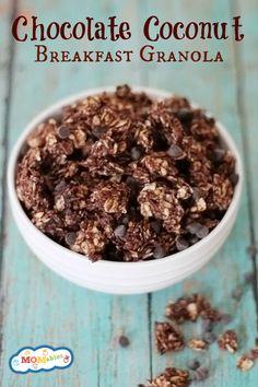 This Chocolate Coconut Granola Recipe tastes like breakfast Almond Joys... but healthier!