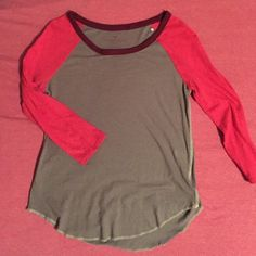 American Eagle Multi-color Baseball Tee Gray, plum and magenta colored baseball tee from AE, size XS, fitted, gently worn, great condition. American Eagle Outfitters Tops Tees - Long Sleeve