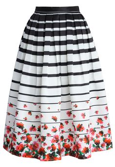 Falling Roses Striped Printed Midi Skirt - CHICWISH SKIRT COLLECTION - Skirt - Bottoms - Retro, Indie and Unique Fashion