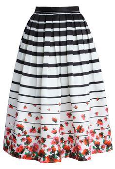 Falling Roses Striped Printed Midi Skirt