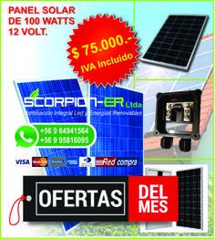 Oferta para el mes de diciembre, Panel Solar de 100 Watts, 12 volt, policristalino y monocristalino en $75.000.- pesos incluido IVA. Promoción hasta agotar stock.