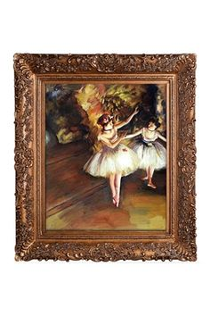 Edgar Degas Two Dancers on Stage Framed Canvas Wall Art