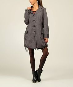 Look what I found on #zulily! Anthracite Pinstripe Button-Up Jacket by L33 by Virginie&Moi #zulilyfinds