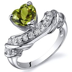 Peridot Ring Sterling Silver Rhodium Nickel Finish Heart Shape 1.25 Carats Sizes 5 to 9 -- Tried it! Love it! Click the image. : Jewelry Rings
