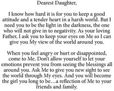 A letter from God to his daughters