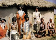"A Xhosa family in their beaded finery. Picture taken near East London, South Africa in the and included in the book ""The Magic World of the Xhosa"" by Aubrey Elliot. African Tribes, African Art, Body Painting Festival, Xhosa, Love Your Neighbour, Unique Costumes, My Heritage, East Africa, East London"