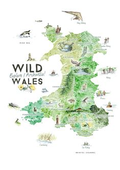 Travel and Trip infographic Travel infographic - Wild Wales: Illustrated Map Benjamin Mounsey Infographic Description Travel and Trip infographic Wild Travel Maps, Travel Posters, Travel Destinations, Wales Map, Map Crafts, Travel Illustration, Herbs Illustration, Map Design, Travel Design