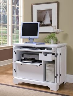 Charmant This Naples Compact Computer Cabinet By Home Styles Comes In A Rich  Multi Step White Finish. The Wood Office Furniture Has A Keyboard With Ball  Bearing ...