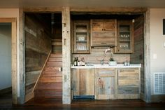 Eclectic Kitchen Design Ideas, Pictures, Remodel and Decor Rustic Kitchen Cabinets, Wooden Kitchen, Kitchen Rustic, Wood Cabinets, Hickory Kitchen, Kitchen Decor, Bar Kitchen, Kitchen Ideas, Pallet Furniture