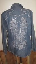 Rock N Roll Cowgirl Fitted Denim Shirt Embroidered & Embellished XL