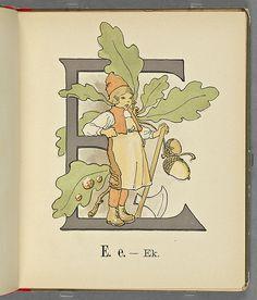 E (Prince's Flower Alphabet) Decorative Alphabet Letters, Alphabet Symbols, Flower Alphabet, Fancy Letters, Alphabet Print, Alphabet Book, Ladybird Books, Hand Embroidery Patterns, Retro Art