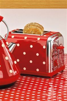 red polka dot toaster and kettle and oilcloth tablecloth- vintage kitchen here we come!