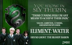 "You belong in Slytherin ""Those cunning folks use any means to achieve their ends."" Values ambition, cunning, and resourcefulness. Element; WATER. House Ghost: The Bloody Baron."
