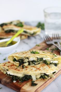 My favourite food.   Stuff crepes with spinach, artichoke hearts and brie to make this dish.
