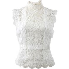 Oscar De La Renta High Neckline Lace Blouse found on Polyvore featuring tops, blouses, white cami, white peplum blouse, white lace blouse, high neck blouse and lace slip