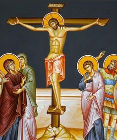 Orthodox icon of Crucifixion of Jesus Christ. Icon made by iconographer Demetrios Hraniotis (Greece). Transfiguration Of Jesus, Crucifixion Of Jesus, Byzantine Icons, Byzantine Art, Religious Icons, Religious Images, Orthodox Catholic, Orthodox Easter, Orthodox Christianity
