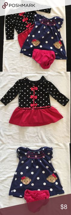 2 girly polka dot dresses These are a little worn from washing but otherwise in good condition. Long sleeve with black and polka dots and pink ribbons. Navy blue polka dot short sleeve dress with monkeys and a pink ruffled diaper cover. Don't forget to bundle!!  Bundle #11 Carter's, Small Wonders Dresses Casual