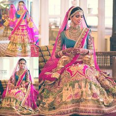 "Nishka Lulla on Instagram: ""Grateful for the most #Gorgeous #bridal #lehenga ever by @neeta_lulla @houseofneetalulla .. Couldn't ask for a more #perfect outfit, #RadhaRani like in every way ,bright pink and #peacock blue, #vintage embroidery with pearls, #tanjore painting on the border, just too #beautiful #peacock #kundan #kaliras by @mrinalinichandra , makeup by @marianna_mukuchyan , hair by @ritikahairstylist . Pics by @weddingnama #dhruvishka #anantarariverside #bridal #nishkalulla"""