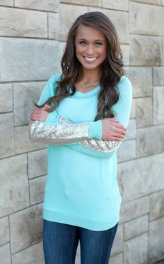 The Pink Lily Boutique - Arm Candy Sequin Sweater Mint, $41.50 (http://thepinklilyboutique.com/arm-candy-sequin-sweater-mint/)