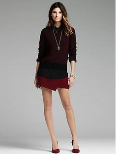 Crepe Foldover Skirt in deep burgandy but it also comes in black  and cream $79.99 sale | Banana Republic