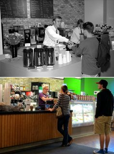Then and Now at Marquette University:   The Brew Bayou Coffee Shop at the Alumni Memorial Union in 1993 and 2012. 1993 photo source: Marquette University Archives