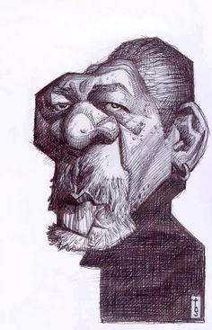 Caricatura del actor y director de cine Morgan Freeman, realizada por el artista Bruno Tesse.     C...