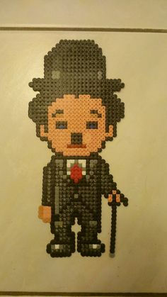 Charlie Chaplin Charlot hama beads by Perler Beads, Perler Bead Art, Fuse Beads, Cross Stitch Designs, Cross Stitch Patterns, Pixel Art, Hama Beads Christmas, Perler Bead Disney, Art Perle