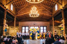 Love the backdrop for this wedding in an old warehouse