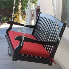 Pleasant Bay Wood Painted Porch Swing - Black - Porch Swings at Porch Swings $170