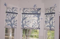 Window treatments, roman shades | Roman Shades constructed from Winterthur Reproduction toile. Artwork ...