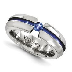 Anodized Titanium Blue Sapphire 6MM Polished Finish Ring Jewelry Gemologica.com offers a unique selection of Edward Mirell wedding rings. Award-winning rings crafted in titanium all of which are designed, engineered and manufactured in the USA. Accented with gemstones, diamonds and anodized to produce the most beautiful of colors. Our Edward Mirell gallery jewelry collection of deals can be reviewed here: www.gemologica.com