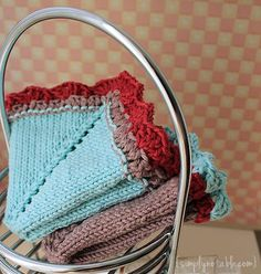 Vintage Retro Hankie Washcloth Knit and Crochet Free Pattern