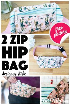 bag sewing patterns Sew a beautiful 2 Zipper Hip Bag (. fanny pack, sling bag, waist wallet) using your favorite fabric and the same easy sewing techniques that I used on our free Triple Zip Bag sewing pattern and Designer Zipper Bags Video course. Fanny Pack Pattern, Bag Pattern Free, Bag Patterns To Sew, Sewing Patterns Free, Free Sewing, Pattern Sewing, Corset Pattern, Wallet Pattern, Clutch Tutorial