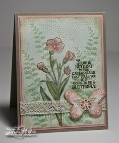 Stampin' Up! ... hand crafted card from LW Designs: Vintage Butterfly Basics ... collage style stamping in pink and green ...