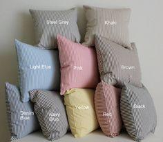 duck egg cotton ticking fabric cushion
