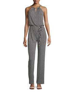 Geo-Print Chain-Neck Jumpsuit, Black/Multi by Laundry by Shelli Segal at Neiman Marcus Last Call.