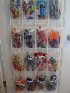 25 Totally Clever Toy Storage Tips and Tricks---a great way to store those larger super heroes, etc