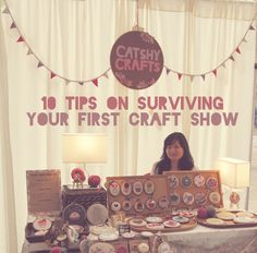 Great tips for surviving first craft show! Catshy Crafts: 10 Tips on Surviving Your First Craft Show Art And Craft Shows, Craft Show Ideas, Craft Font, Crafts To Sell, Diy Crafts, Selling Crafts, Craft Fair Displays, Display Ideas, Booth Ideas