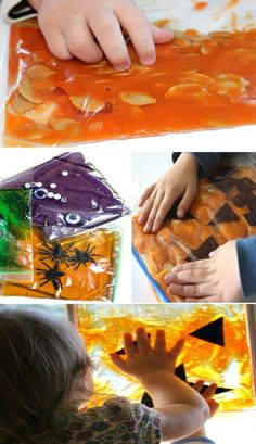 Halloween sensory bags for kids to make #halloween #halloweenactivitiesforkids #sensoryactivities #sensorybags #growingajeweledrose #activitiesforkids Halloween Jelly, Halloween Potions, Halloween Activities For Kids, Halloween Kids, Halloween Treats, Crafts For Kids, Sensory Bags, Sensory Activities, Frankenstein Craft