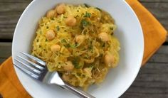 Moroccan-spiced spaghetti squash with chickpeas.  This is one of my favorites (although I usually reduce the amount of butter, and I often add a bag of spinach to the recipe)