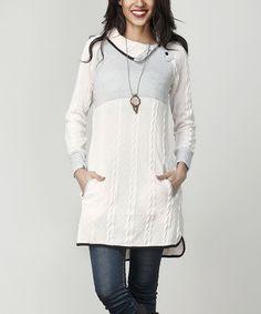 Cream Cable Knit Shawl Collar Pocket Tunic