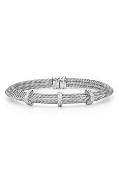 ALOR® Three Station Diamond Bangle Bracelet