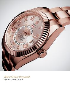 Rolex #SkyDweller 42 mm in Everose gold with a fluted bidirectional rotatable Ring Command bezel, Sundust dial and Oyster bracelet. #RolexOfficial