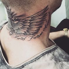 Top Behind The Neck Tattoo Design For Men - This is an amzing Wing Tatto Desig. - Top Behind The Neck Tattoo Design For Men – This is an amzing Wing Tatto Design Behind the neck - Forarm Tattoos, Head Tattoos, Back Tattoos, Body Art Tattoos, Sleeve Tattoos, Tattoos For Guys, Wing Tattoos, Mens Neck Tattoos, Thigh Tattoos