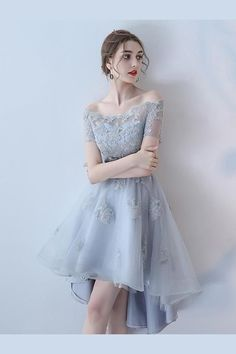 Cheap Glorious Short Homecoming Dresses A-line Off-the-shoulder Asymmetrical Short Tulle Homecoming Dress/Short Dress # Elegant Dresses, Pretty Dresses, Sexy Dresses, Beautiful Dresses, Short Dresses, Fashion Dresses, Formal Dresses, A Line Prom Dresses, Club Dresses