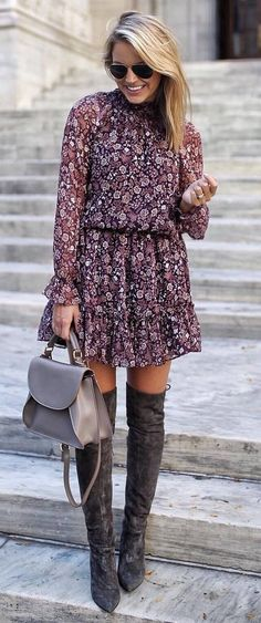 beautiful fall outfit_floral dress + bag + over the knee boots